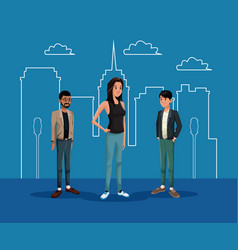Young woman with two guys with silhouette building vector