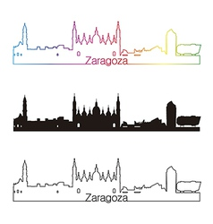Zaragoza skyline linear style with rainbow vector image