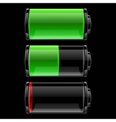 Battery icons set with different charge vector image