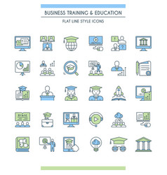 Business training and education icon set vector