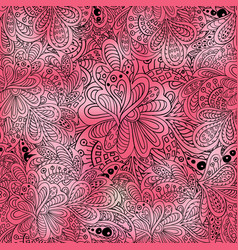 Doodle seamless pattern pink colored vector