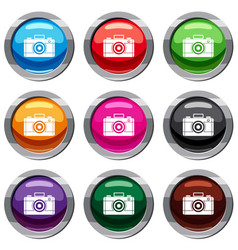 photo camera set 9 collection vector image