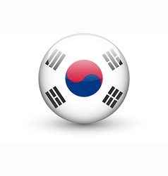 Round icon with national flag of South Korea vector image vector image