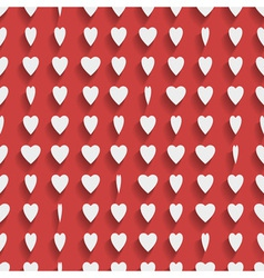 Seamless red background with paper hearts vector image vector image