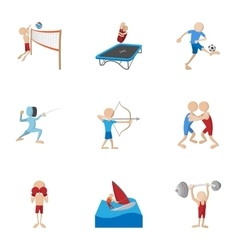 Sports icons set cartoon style vector image
