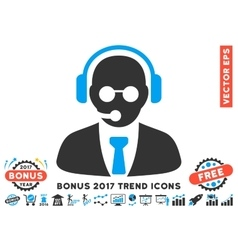 Support Manager Flat Icon With 2017 Bonus Trend vector image