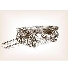 Vintage wooden cart hand drawn sketch vector image