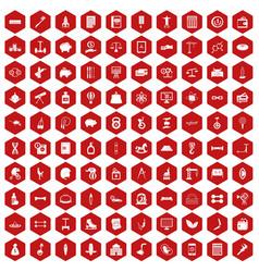 100 balance icons hexagon red vector