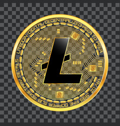 crypto currency litecoin golden symbol vector image vector image