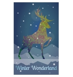 deer in snowy winter night vector image vector image