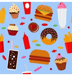 Fast Food Seamless Pattern with Sweets Candies vector image