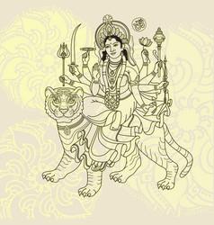 hindy goddess durga sitting on the tiger vector image