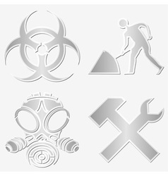 warning symbols stickers vector image vector image