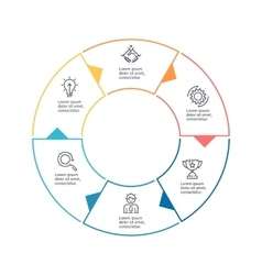 Circular chart diagram with 6 steps options vector image vector image