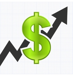 Dollar sign with graph chart vector image