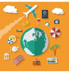 Flat design style modern icons set of vacation vector image