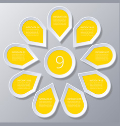 infographic yellow points arranged in sun circle vector image vector image