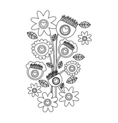 monochrome background with bouquet of retro vector image