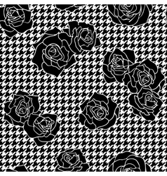 Roses with houndstooth background vector image vector image
