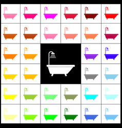 bathtub sign felt-pen 33 colorful icons vector image vector image