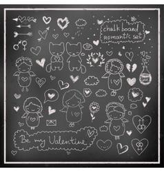 Chalk board romantic set in vector image vector image