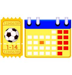 colorfull football soccer ticket calendar set vector image vector image