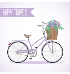 Cute bicycle with basket full of flowers vector image