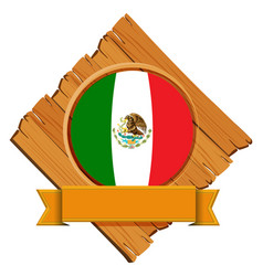 flag of mexico on wooden board vector image vector image