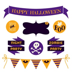 halloween design elements in purple and yellow vector image vector image