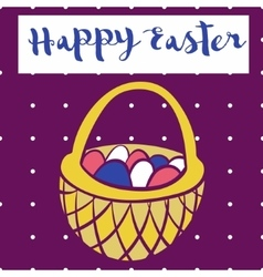 Happy easter poster bascet wiith eggs card for vector