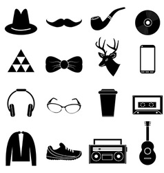 Hipster icons set vector image vector image