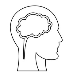 human head with brain icon outline style vector image