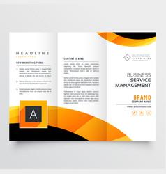yellow orange black trifold brochure flyer design vector image