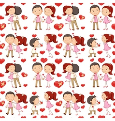 A seamless design of lovers vector image