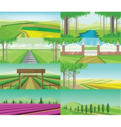 Abstract green landscape set vector
