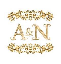 AN vintage initials logo symbol Letters A N vector