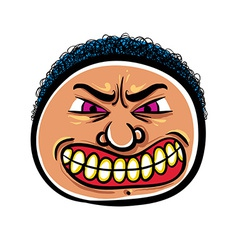 Angry cartoon face vector image