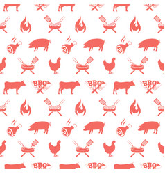 Bbq seamless pattern with barbecue grill elements vector