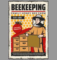 Beekeeper with honey bee honeycombs beehives vector