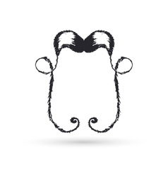 Black moustaches of handwork vector