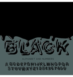 Black oil painted alphabet vector image