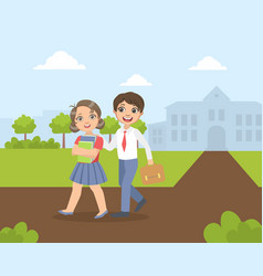 Boy and girl walking from school together vector