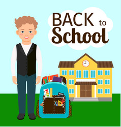 Boy with backpack standing before school vector