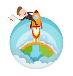Businessman riding a rocket and smoke through vector