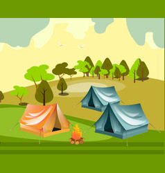 camping with summer forest vector image