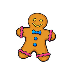 cartoon christmas cookies gingerbread man vector image