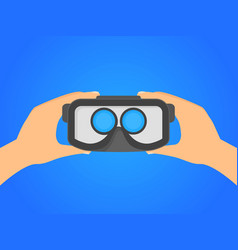cartoon human hands holding virtual reality vector image
