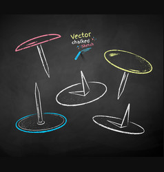 chalk drawn set push pins vector image