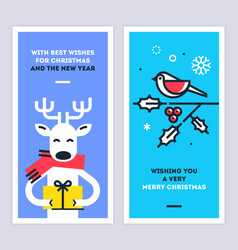 christmas and new year cards set with reindeer vector image