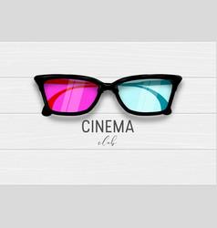 cinema 3d glasses wooden banner vector image